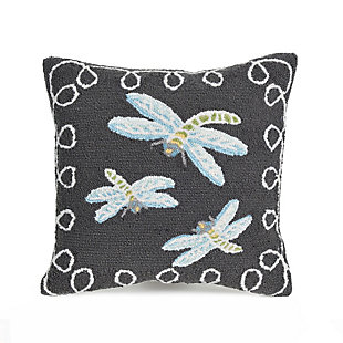 """Deckside Flower Dragons Indoor/Outdoor Pillow Midnight 18"""" Square, , large"""