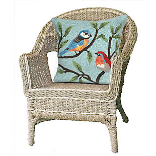 "Deckside Song Birds Indoor/Outdoor Pillow Aqua 18"" Square, , rollover"