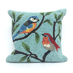 "Deckside Song Birds Indoor/Outdoor Pillow Aqua 18"" Square, , large"