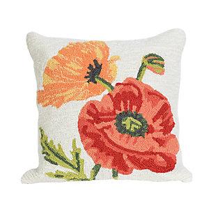 "Deckside Wild Blooms Indoor/Outdoor Pillow Neutral 18"" Square, , large"