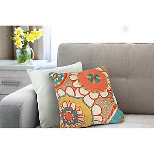 """Deckside Floral Hippy Indoor/Outdoor Pillow Sand 18"""" Square, , rollover"""