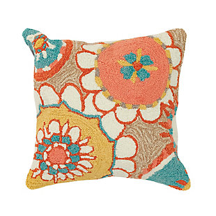 """Deckside Floral Hippy Indoor/Outdoor Pillow Sand 18"""" Square, , large"""