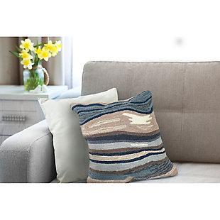"Deckside Floating Lines Indoor/Outdoor Pillow Blue/grey 18"" Square, , rollover"