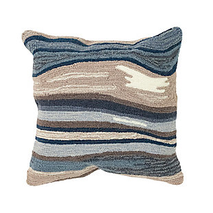 """Deckside Floating Lines Indoor/Outdoor Pillow Blue/grey 18"""" Square, , large"""