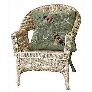 """Deckside Honey Flies Indoor/Outdoor Pillow Green 18"""" Square, , rollover"""