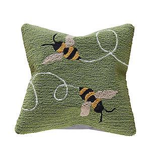 """Deckside Honey Flies Indoor/Outdoor Pillow Green 18"""" Square, , large"""