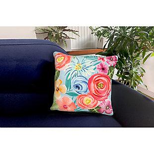 "Cirrus Floral Medley Indoor/Outdoor Pillow Aqua 18"" Square, , rollover"