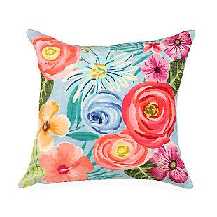 "Cirrus Floral Medley Indoor/Outdoor Pillow Aqua 18"" Square, , large"