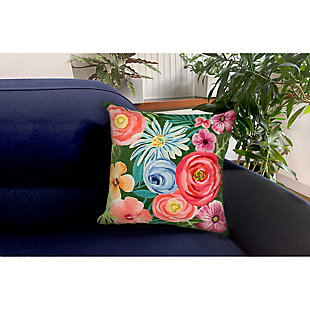"""Cirrus Floral Medley Indoor/Outdoor Pillow Green 18"""" Square, Green, rollover"""