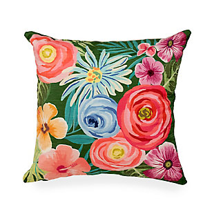 """Cirrus Floral Medley Indoor/Outdoor Pillow Green 18"""" Square, Green, large"""