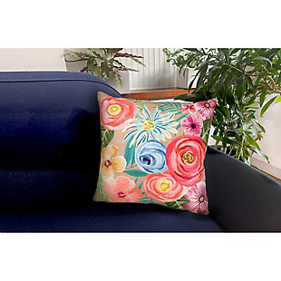 """Cirrus Floral Medley Indoor/Outdoor Pillow Taupe 18"""" Square, , rollover"""