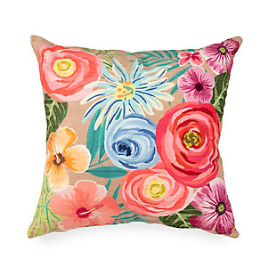 """Cirrus Floral Medley Indoor/Outdoor Pillow Taupe 18"""" Square, , large"""