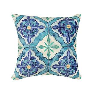 """Cirrus Talavera Indoor/Outdoor Pillow Ocean 18"""" Square, , large"""
