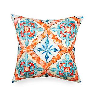 """Cirrus Talavera Indoor/Outdoor Pillow Ocean 18"""" Square, Blue, large"""