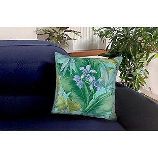 """Cirrus Island Floral Indoor/Outdoor Pillow Aqua 18"""" Square, , rollover"""