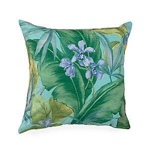 """Cirrus Island Floral Indoor/Outdoor Pillow Aqua 18"""" Square, , large"""