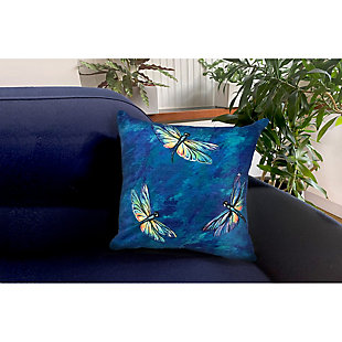 """Cirrus Wings Indoor/Outdoor Pillow Midnight 18"""" Square, Navy, rollover"""