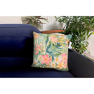 "Cirrus Tropical Bouquet Indoor/Outdoor Pillow Pastel 18"" Square, , rollover"