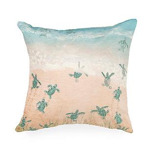 """Cirrus Turtles On The Run Indoor/Outdoor Pillow Aqua 18"""" Square, , large"""