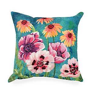 "Cirrus Flower Party Indoor/Outdoor Pillow Multi 18"" Square, , rollover"