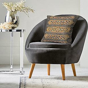 """Gorham Decorative Stripe Indoor/Outdoor Pillow Black 18"""" Square, , rollover"""