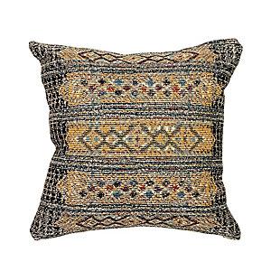 """Gorham Decorative Stripe Indoor/Outdoor Pillow Black 18"""" Square, , large"""