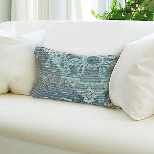"Gorham Medallion Indoor/Outdoor Pillow Blue 12""X18"", , large"