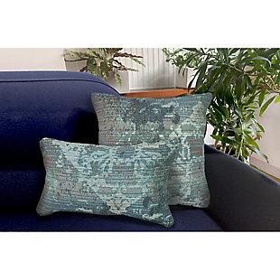 "Gorham Medallion Indoor/Outdoor Pillow Blue 18"" Square, , large"