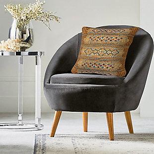 """Gorham Decorative Stripe Indoor/Outdoor Pillow Gold 18"""" Square, , rollover"""
