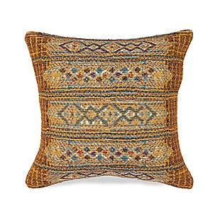 """Gorham Decorative Stripe Indoor/Outdoor Pillow Gold 18"""" Square, , large"""