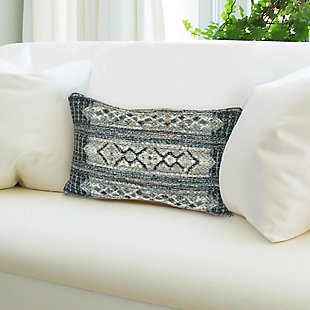 "Gorham Decorative Stripe Indoor/Outdoor Pillow Denim 12""X18"", , rollover"