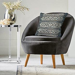 """Gorham Decorative Stripe Indoor/Outdoor Pillow Denim 18"""" Square, , rollover"""