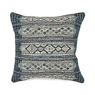 """Gorham Decorative Stripe Indoor/Outdoor Pillow Denim 18"""" Square, , large"""