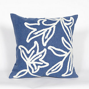 "Spectrum I Leaves Indoor/Outdoor Pillow Blue 20"" Square, , large"