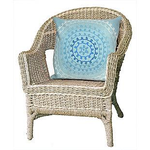 """Spectrum II Stitched Sphere Indoor/Outdoor Pillow Aqua 20"""" Square, Blue, rollover"""