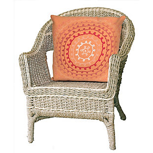 "Spectrum II Stitched Sphere Indoor/Outdoor Pillow Coral 20"" Square, , rollover"
