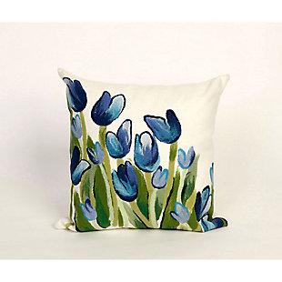 """Spectrum II Spring Flowers Indoor/Outdoor Pillow Blue 12""""X20"""", , large"""