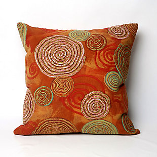 "Spectrum III Textured Circles Indoor/Outdoor Pillow Warm 20"" Square, , large"