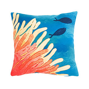 "Spectrum III Sea World Indoor/Outdoor Pillow Coral 20"" Square, , large"