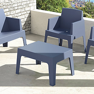 Siesta Outdoor Box Resin Center Table, Dark Gray, rollover