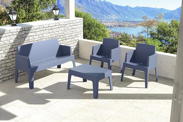 Siesta Outdoor Box Resin Center Table, Dark Gray, large