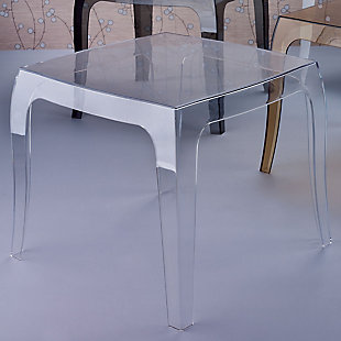Siesta Outdoor Queen Polycarbonate Side Table, Transparent Clear, rollover