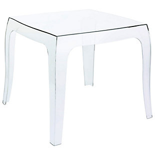 Siesta Outdoor Queen Polycarbonate Side Table, Transparent Clear, large