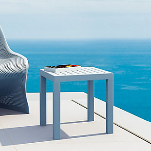 Siesta Outdoor Ocean Square Resin Side Table, Silver Gray, rollover