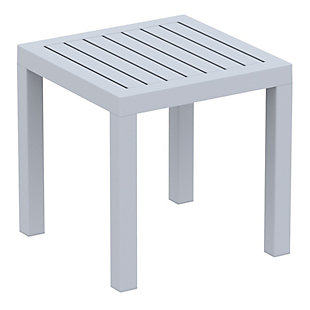 Siesta Outdoor Ocean Square Resin Side Table, Silver Gray, large