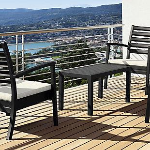 Siesta Outdoor Ocean Rectangle Coffee Table, Black, large