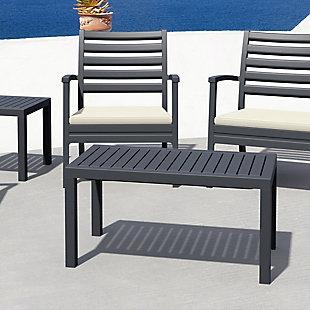 Siesta Outdoor Ocean Rectangle Coffee Table, Dark Gray, rollover