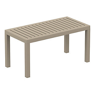 Siesta Outdoor Ocean Rectangle Coffee Table, Taupe, large