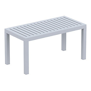 Siesta Outdoor Ocean Rectangle Coffee Table, Silver Gray, large