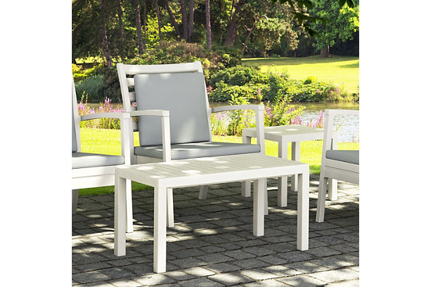 Siesta Outdoor Ocean Rectangle Coffee Table, White, large